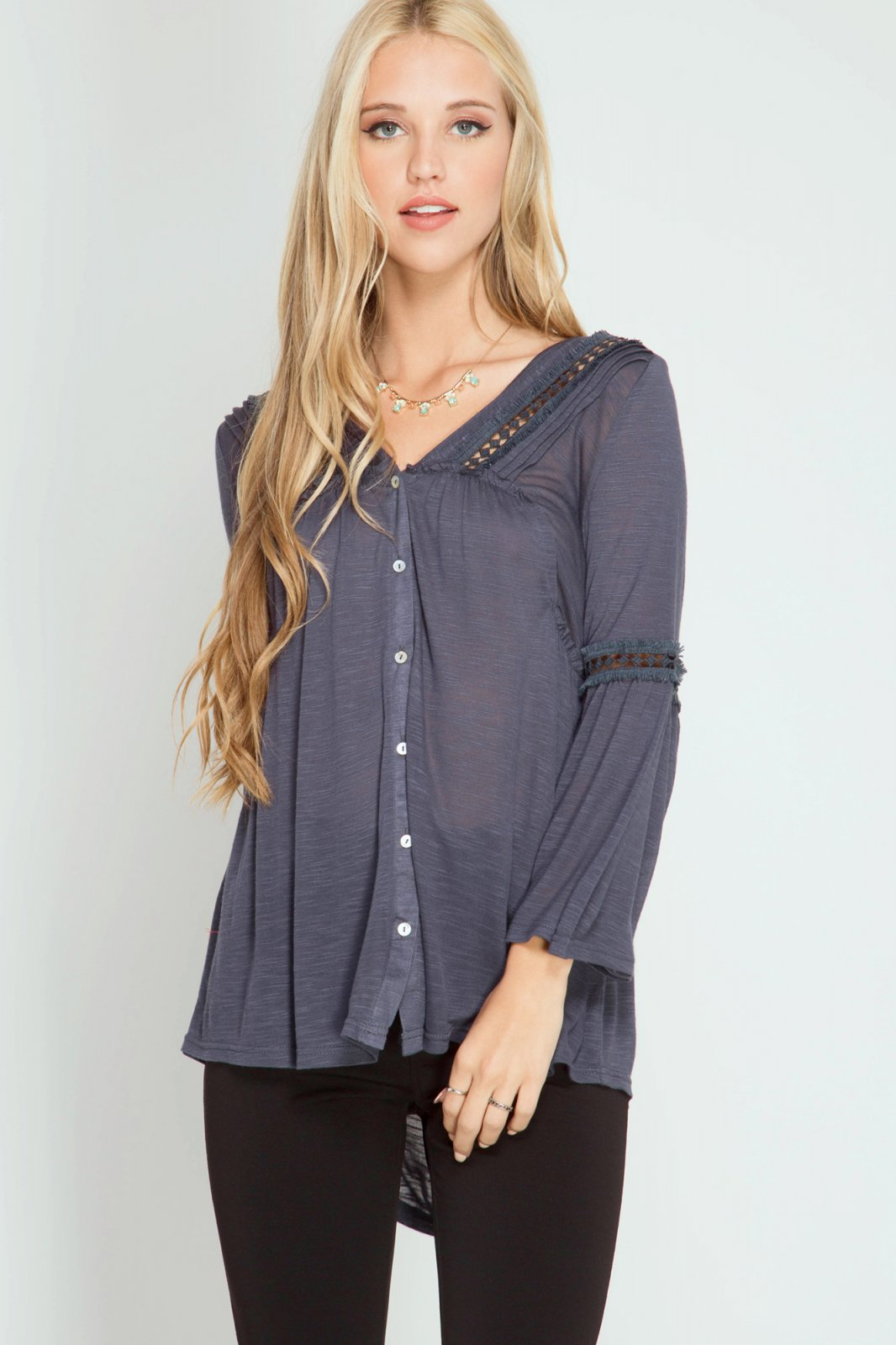 BLOUSE 3/4 Bell Sleeve CHARCOAL * RAYON