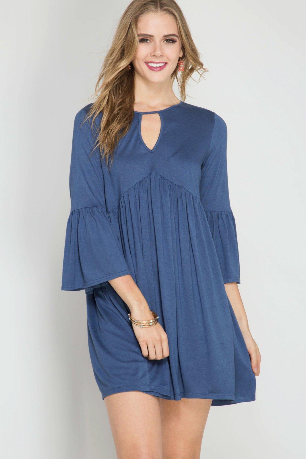 DRESS or TUNIC - 3/4 Bell Sleeve DEEP BLUE * RAYON