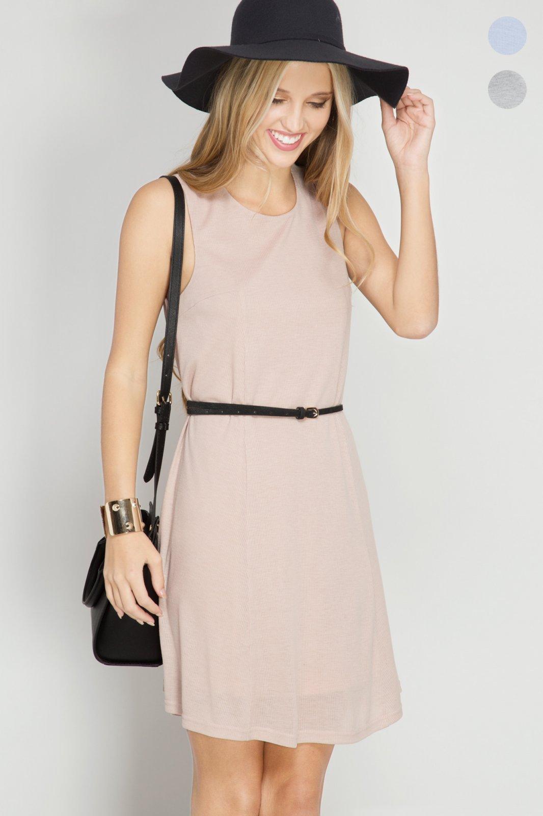DRESS Ribbed Shift *Jr / Ms / Adult PT TAUPE