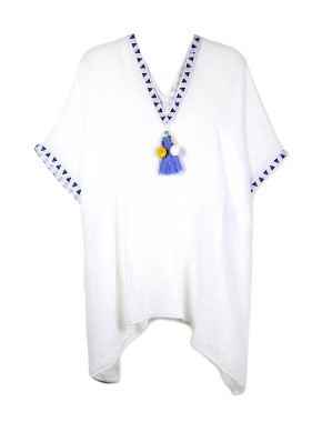 Pom-Pom WHITE Tassel Poncho * RESORT WEAR OS