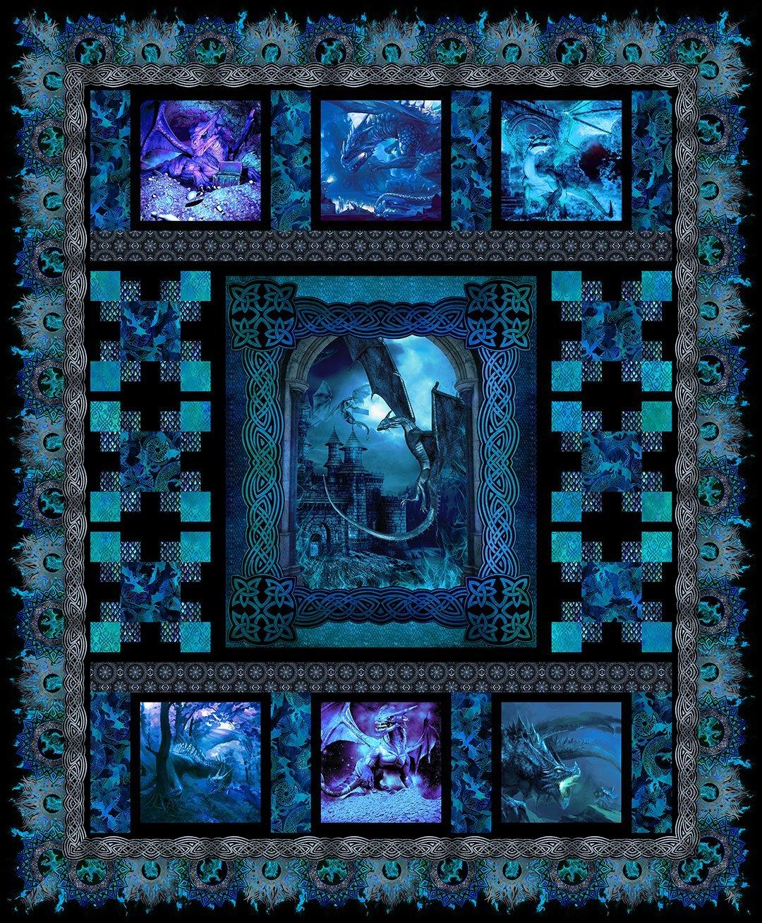 Dragons Quilt Kit Blue