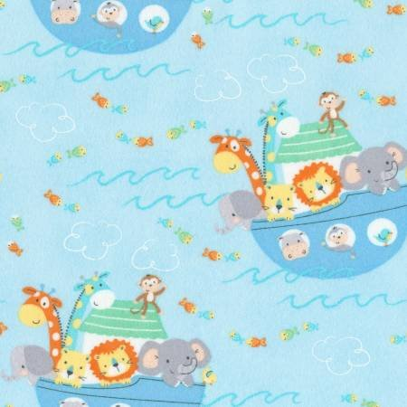 Timeless Treasures Noah's Ark Flannel Blue