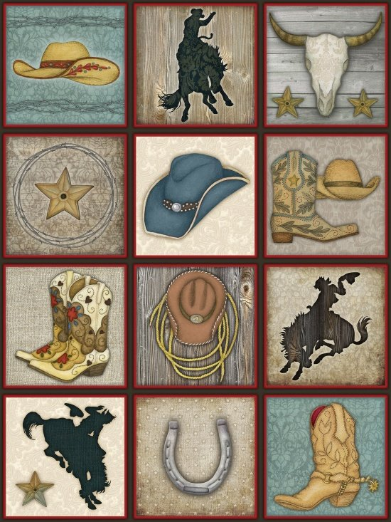 Henry Glass Rodeo Roundup Cowboy Motif Squares Panel