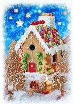 Hoffman Peppermint Lane Gingerbread House Panel