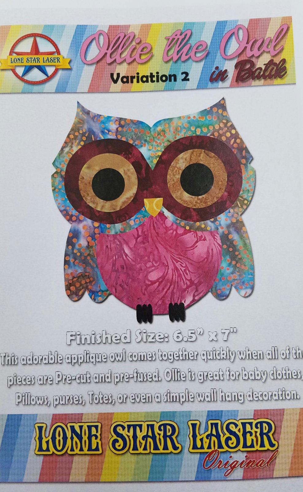 Ollie the Owl in Batik Pre-cut Pre-fused