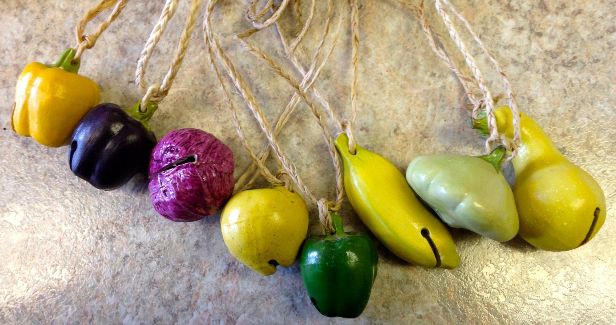 8 Ceramic Fruit & Veggie Bells