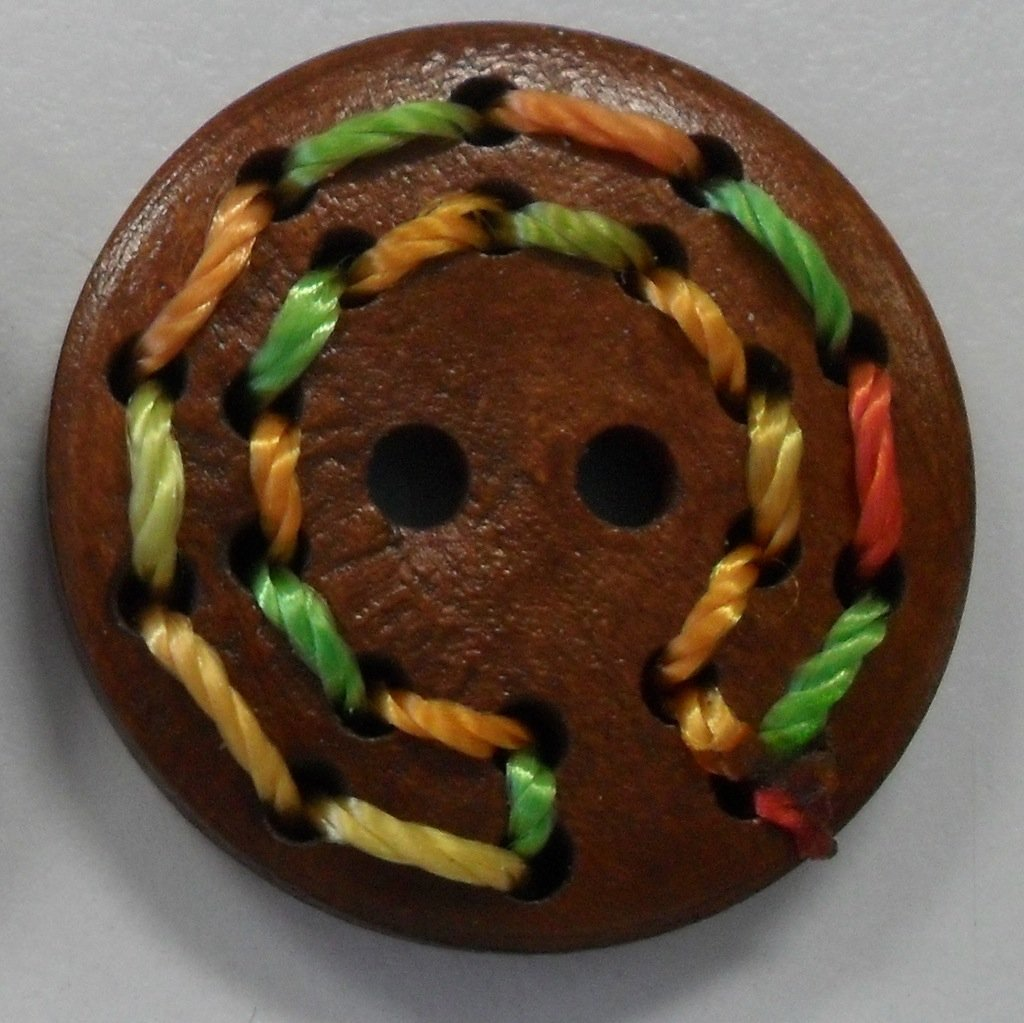 Button Wood w/stitching