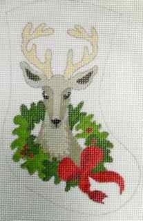 ReindeerW/Wreath HandpaintedCanvas