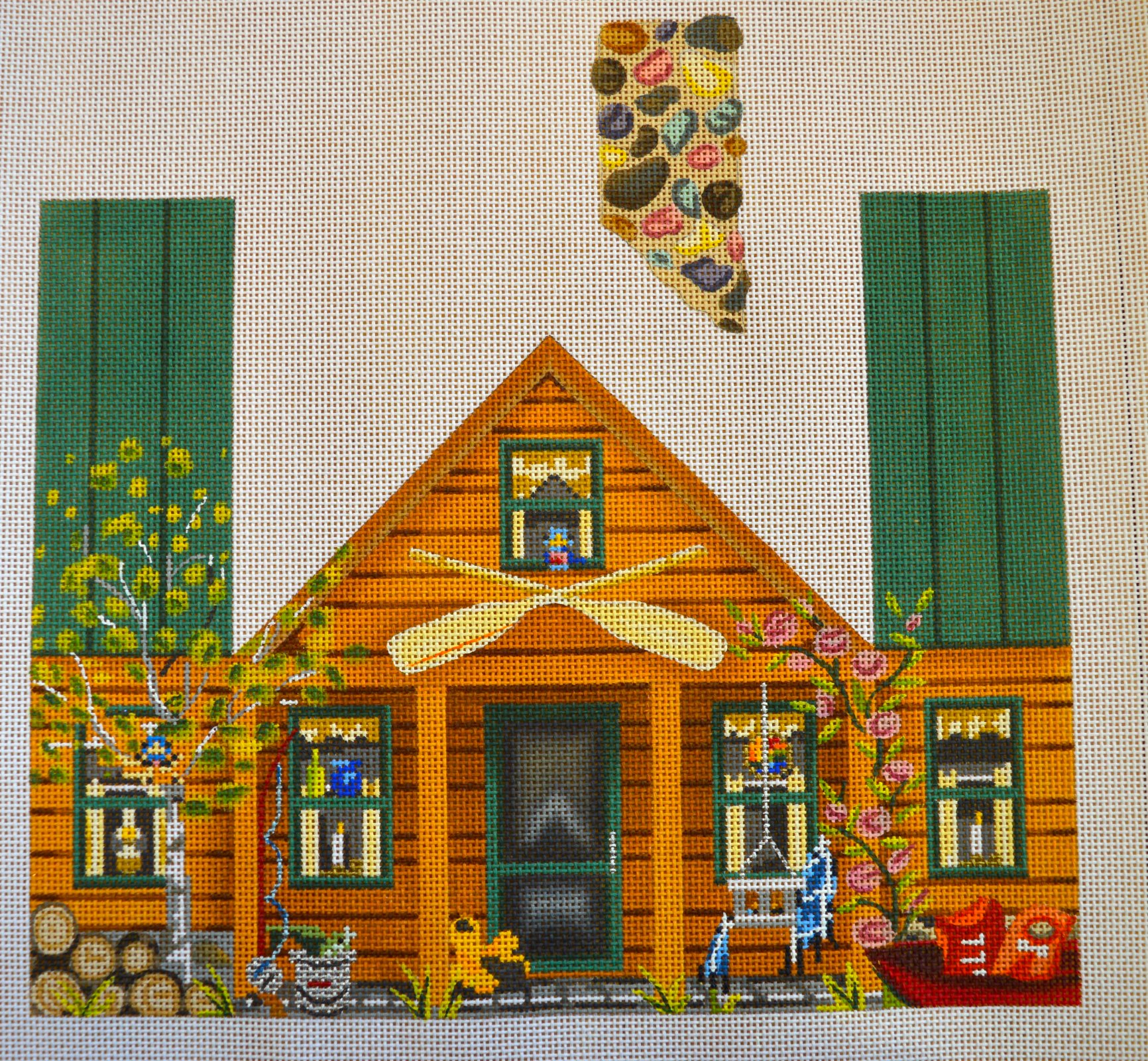 Cabin Camping Handpainted Canvas