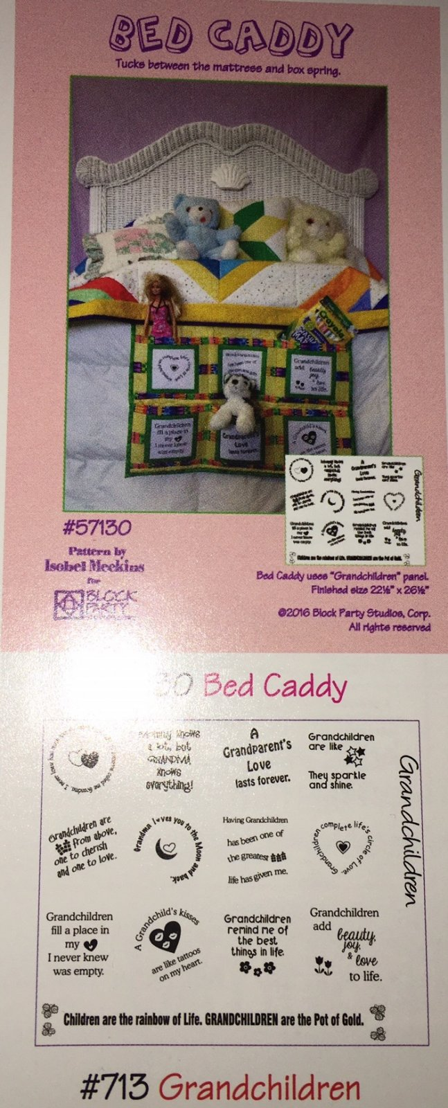 Bed Caddy/Grandchildren Panel with Pattern