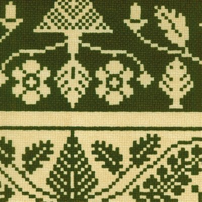 Old World Christmas Needlework Pattern Green and Gold Cotton Fabric
