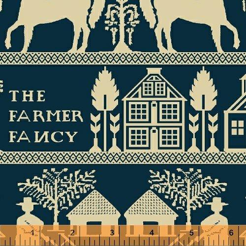 Farmer Fancy Blue and Cream Border Print
