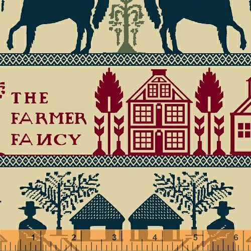 Farmer Fancy Cream Red and Blue Border Print