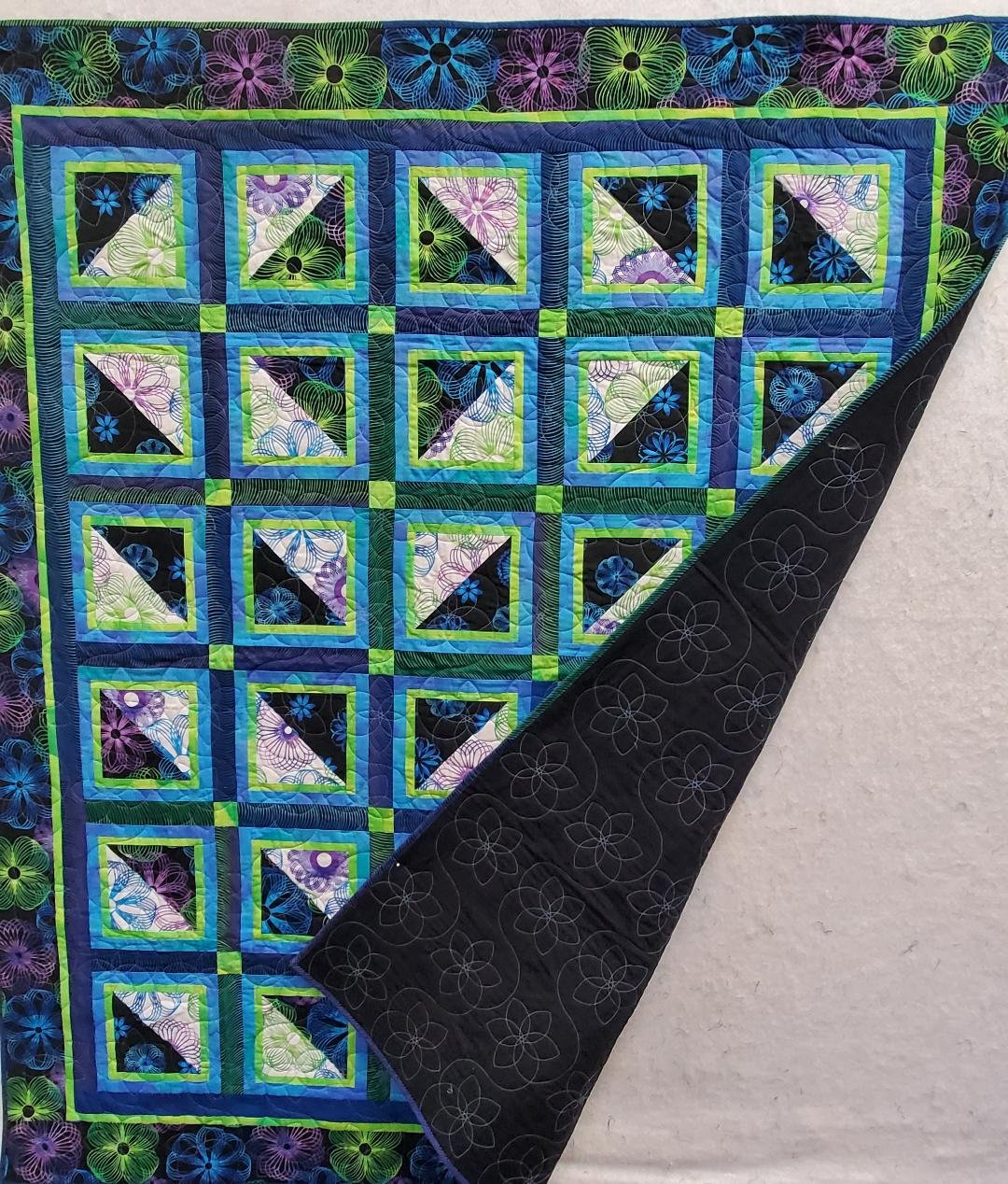 Spiral Quilt Blue and Lime 58 X 66