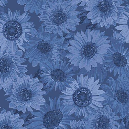 108 Sunflower Whispers Denim Blue Wide Backing