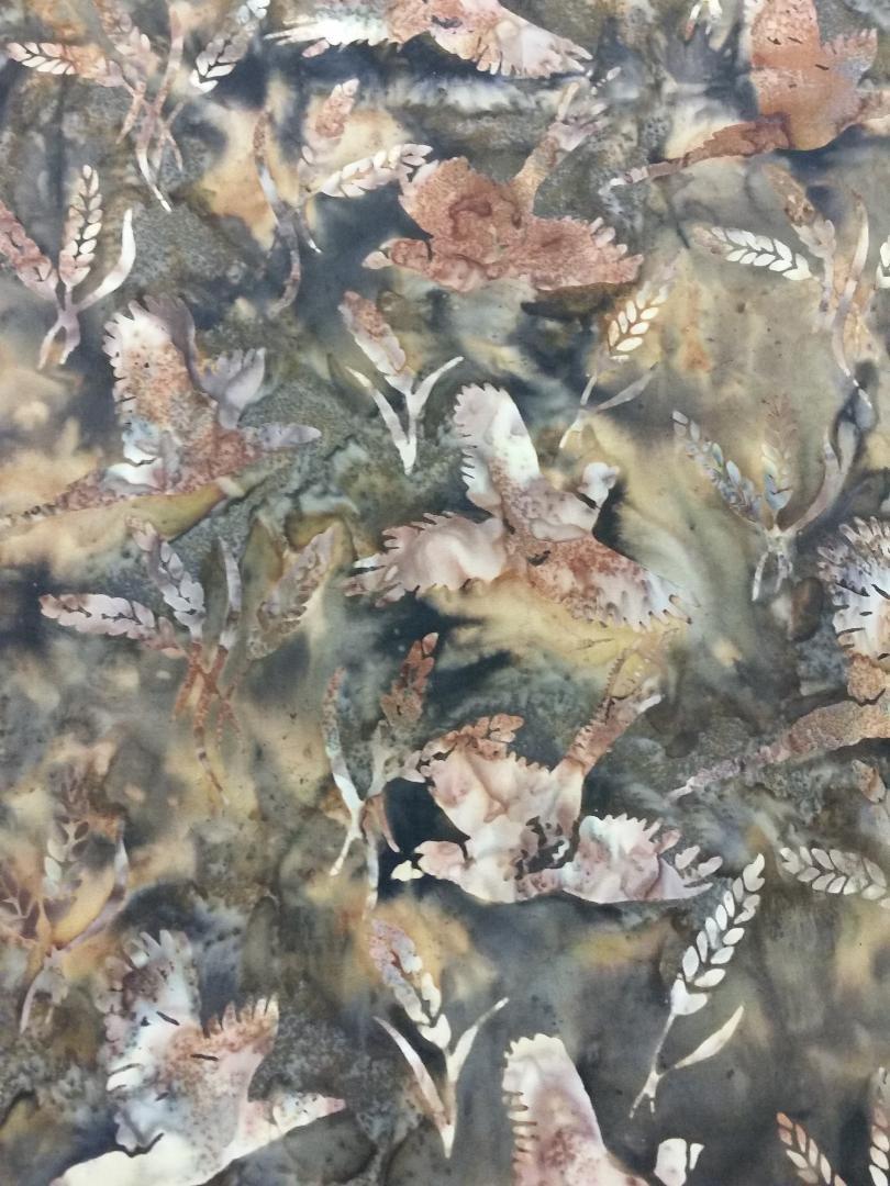 Custom Pheasants and Wheat Pecan Batik