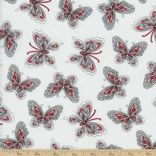 Rubies Gray and red butterflies on light gray