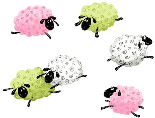 Susybee Lewe Leaping Sheep Pink and Green