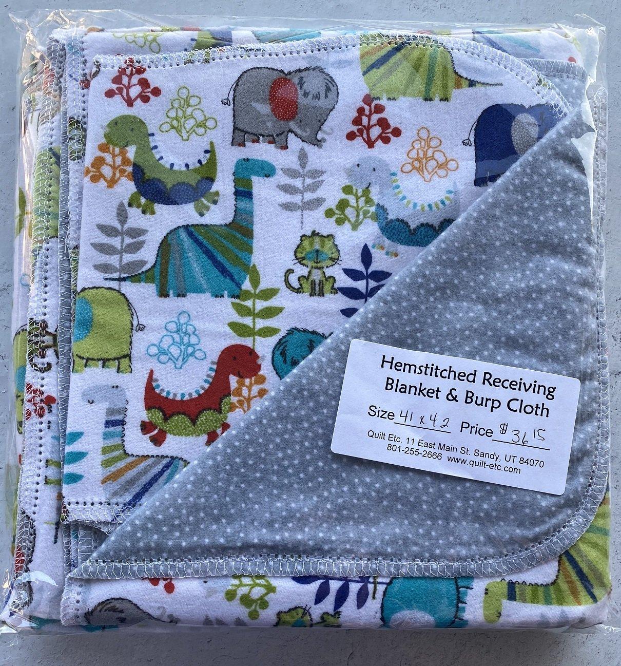 Hemstitched Receiving Blanket & Burp Cloth 14