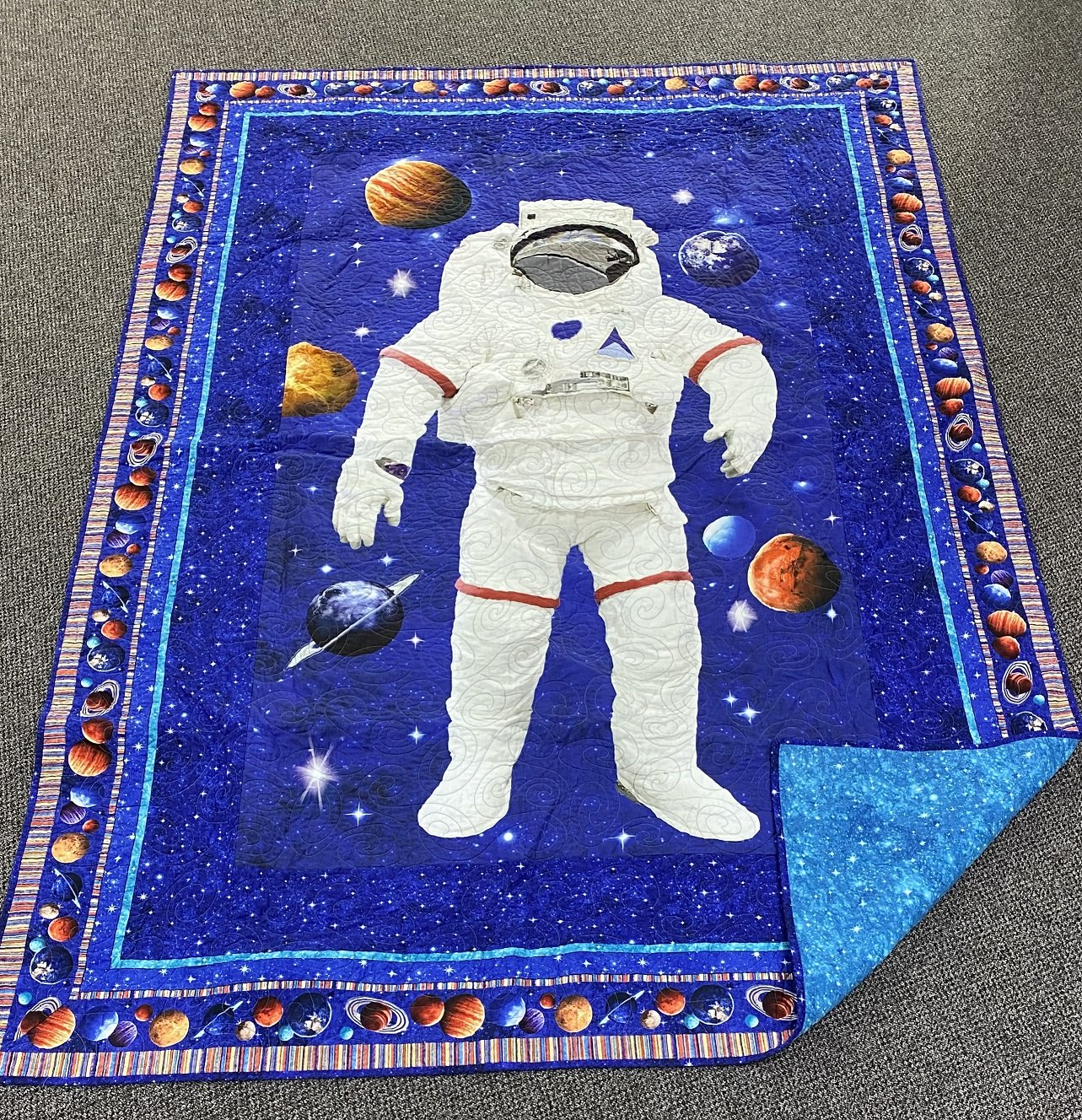 Space Man Finished Quilt