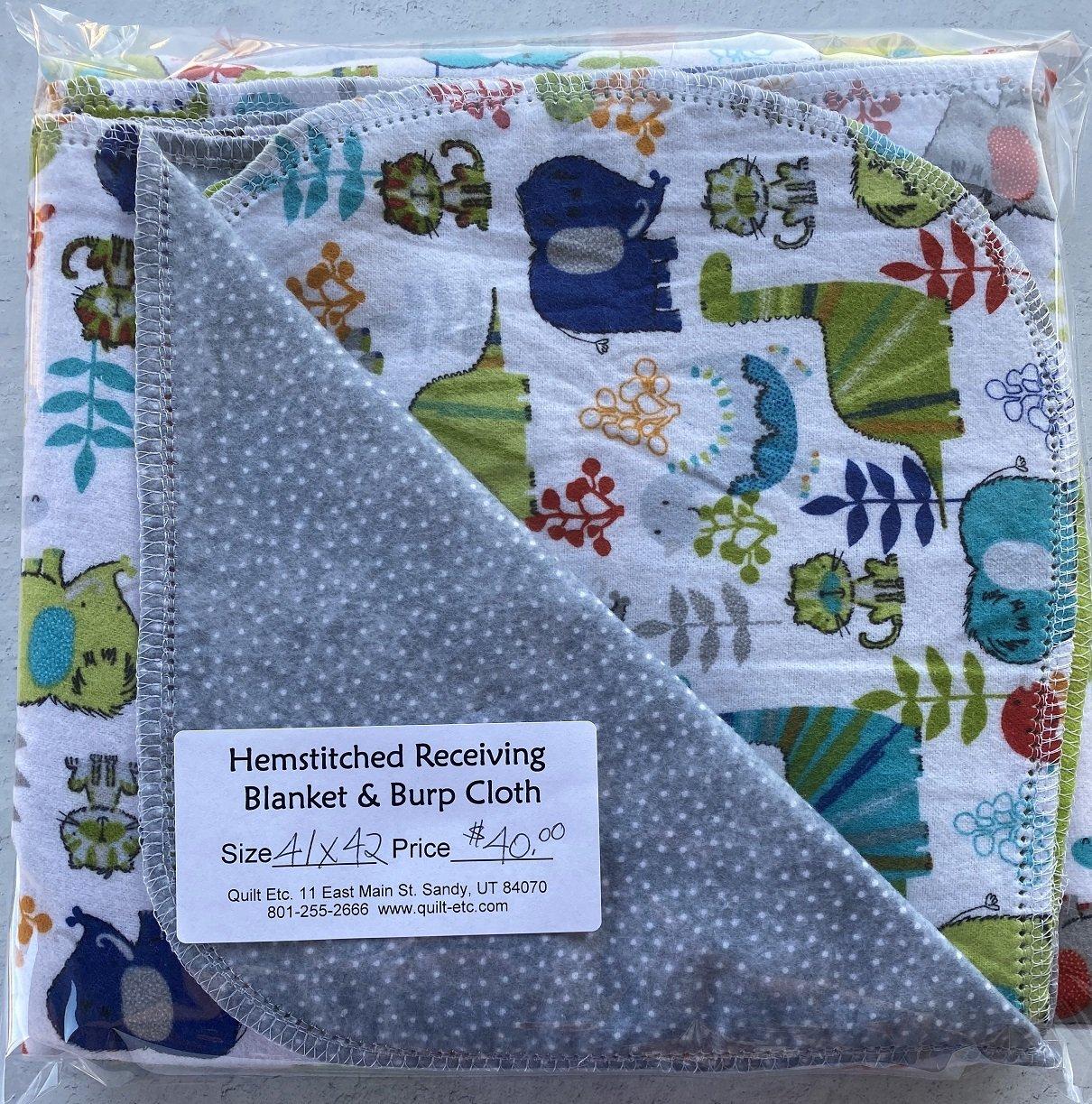 Hemstitched Receiving Blanket & Burp Cloth 1