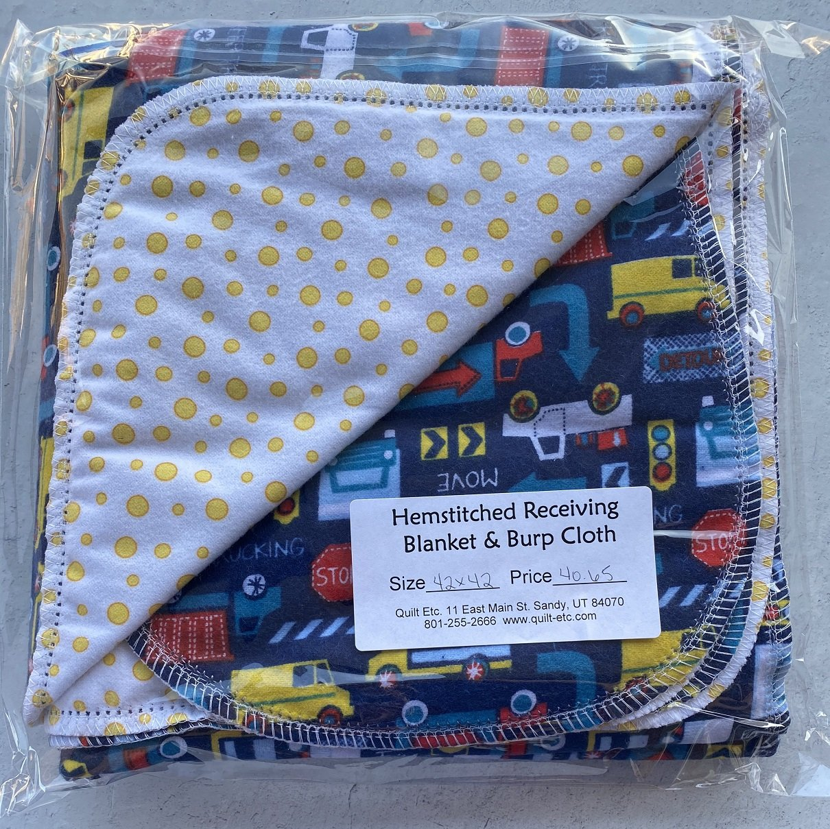 Hemstitched Receiving Blanket & Burp Cloth 20