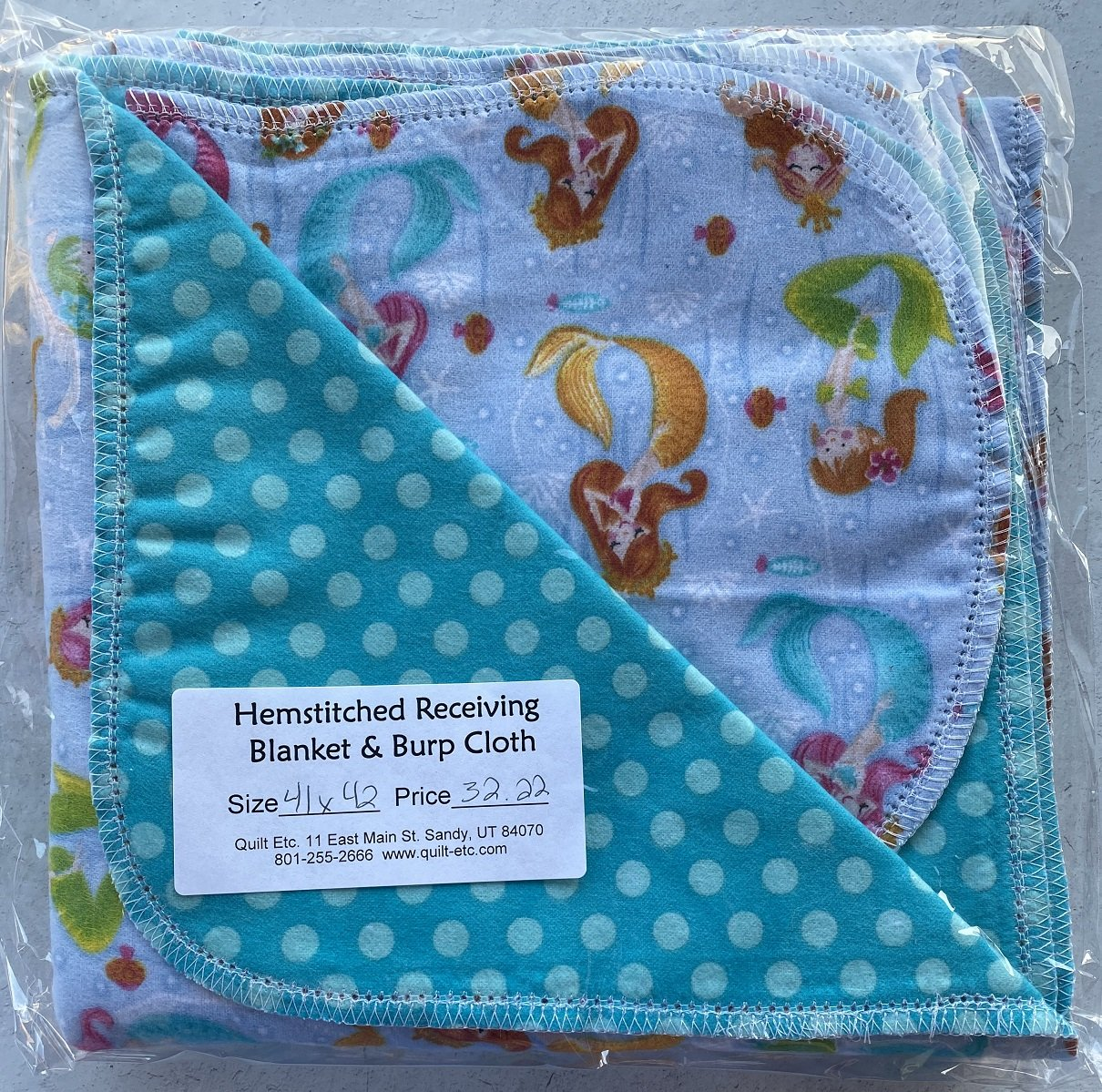 Hemstitched Receiving Blanket & Burp Cloth 24