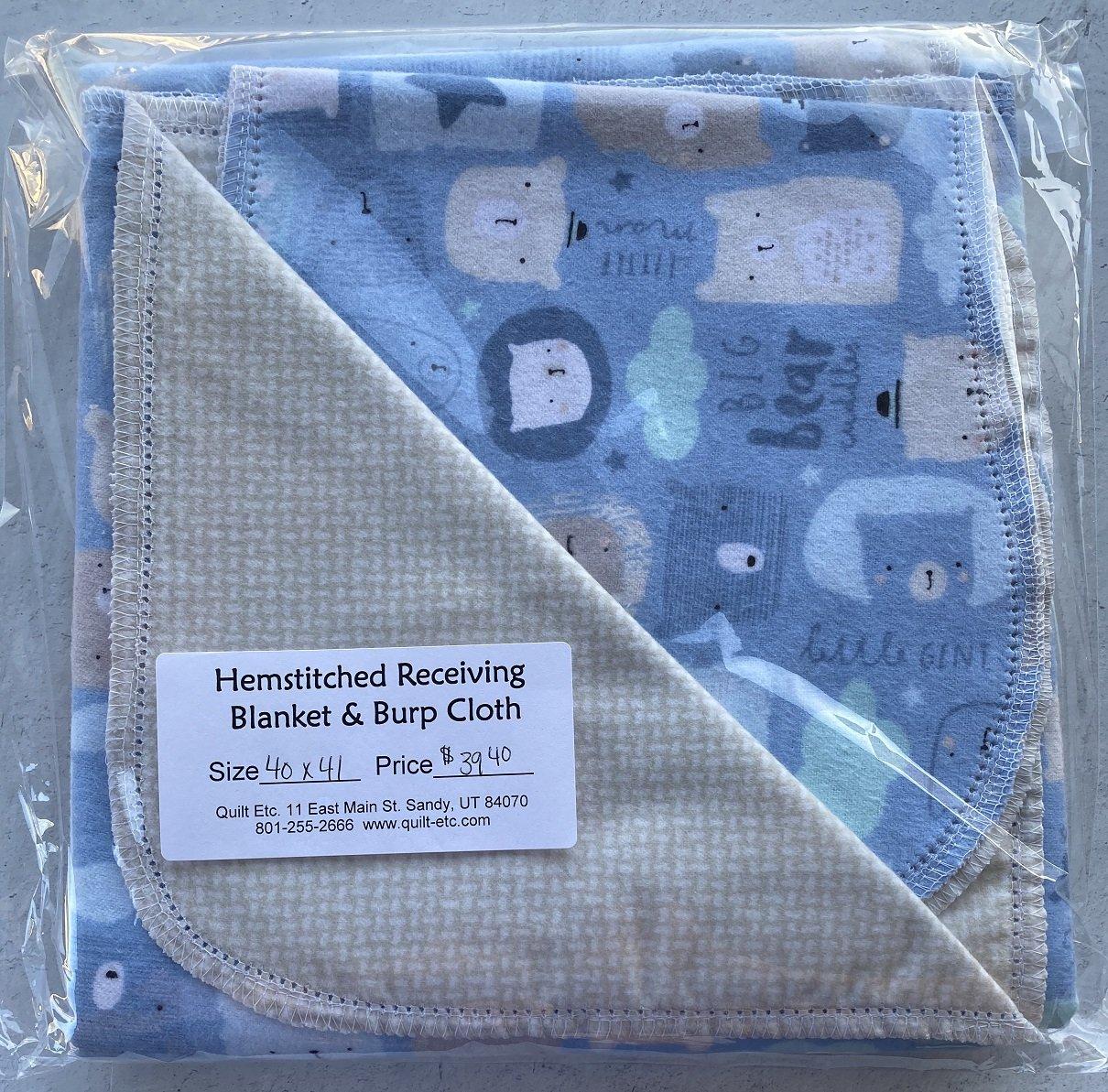 Hemstitched Receiving Blanket & Burp Cloth 3