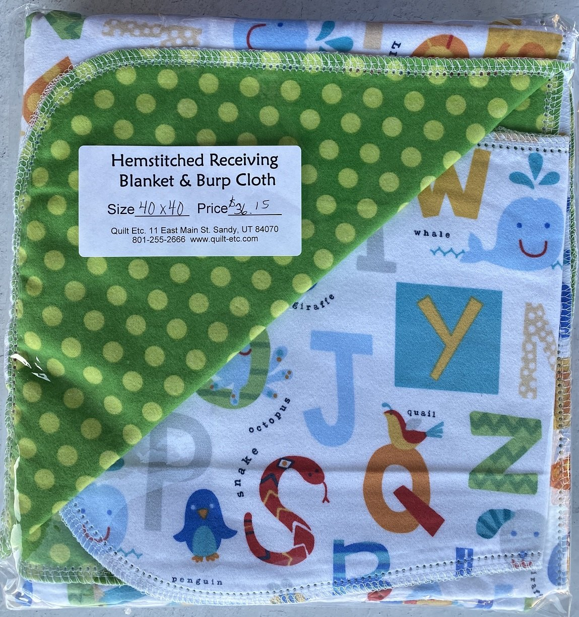 Hemstitched Receiving Blanket & Burp Cloth 7