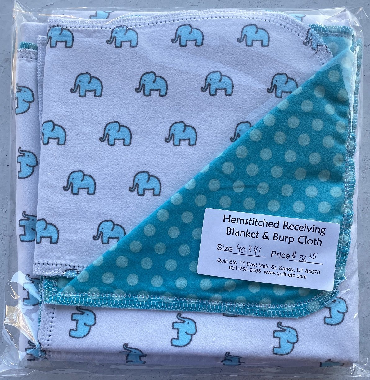Hemstitched Receiving Blanket & Burp Cloth 8