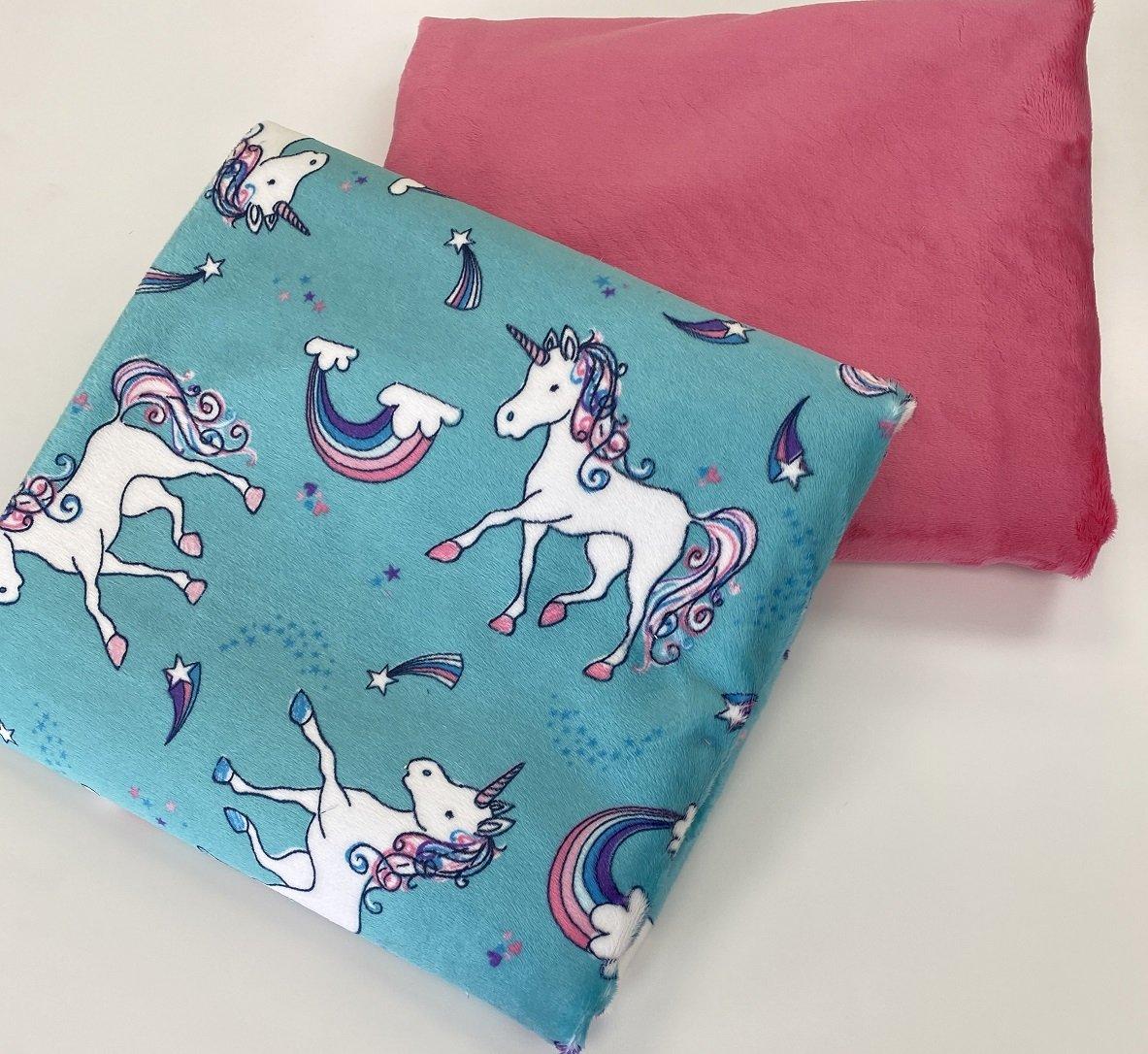 Self Binding Blanket - Unicorns W/Pink