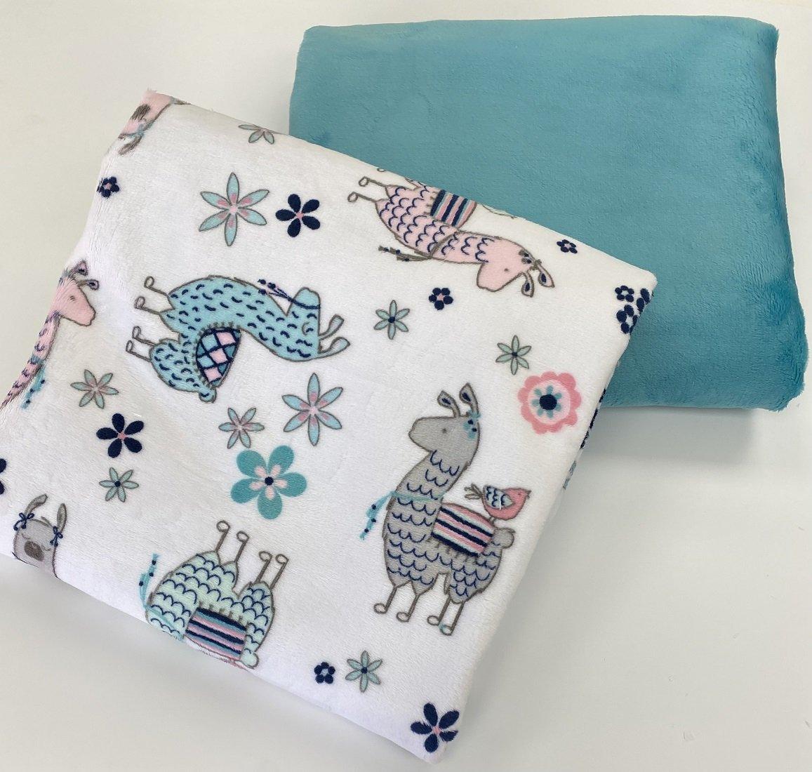 Self Binding Blanket - Llamas W/Aqua