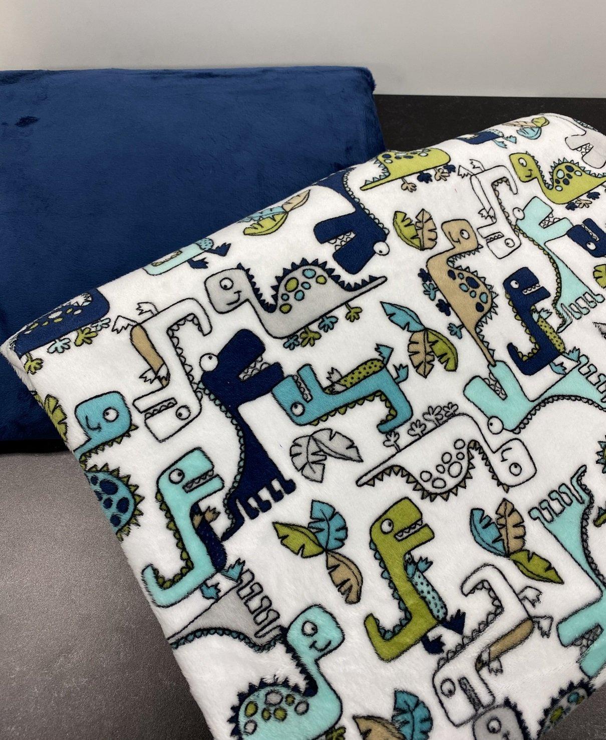 Self Binding Blanket - Dinosaurs W/Blue
