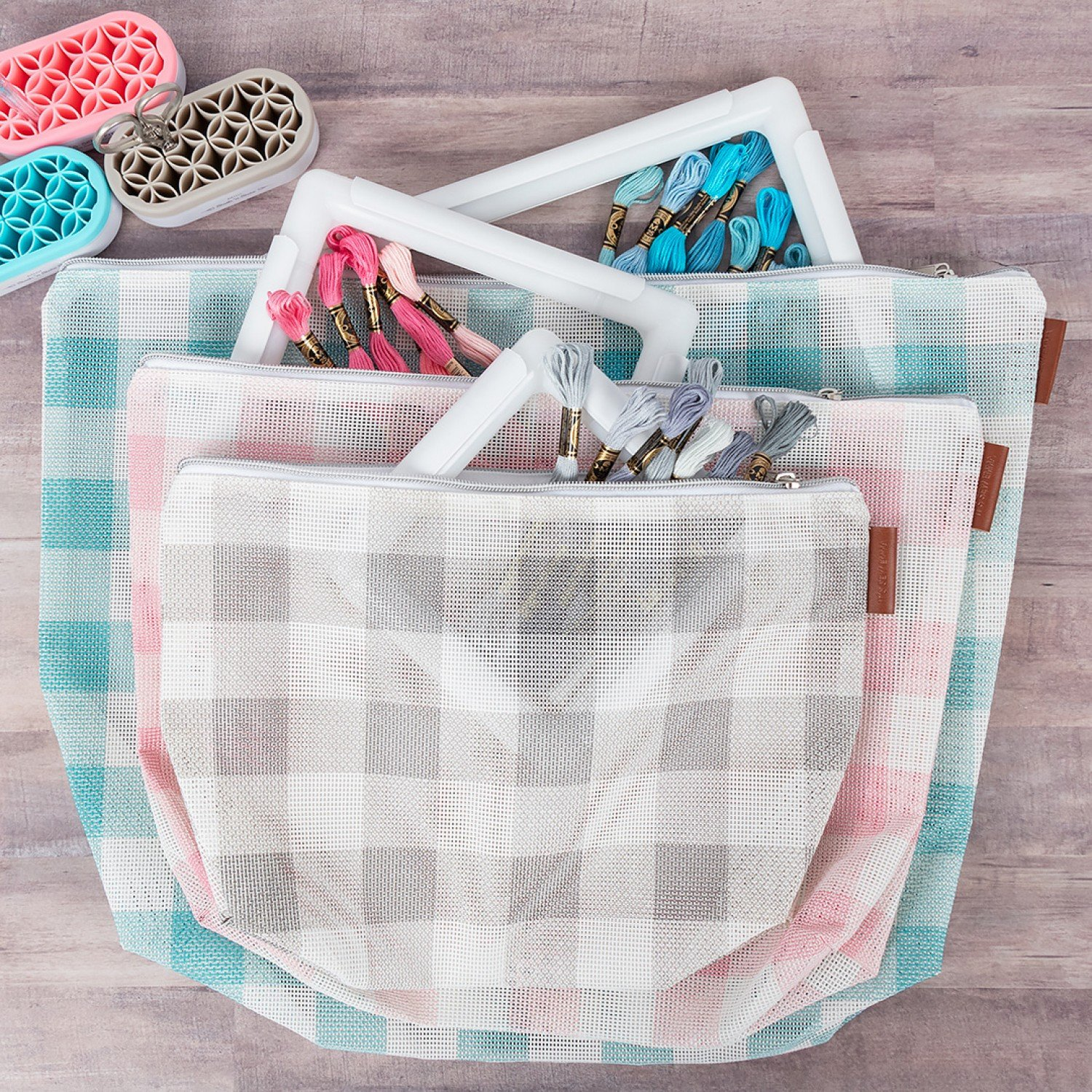Gingham Mesh Project Bag Set 3pc