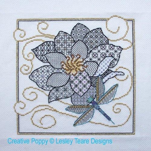 Lesley Teare Blackwork Flower & Dragonfly