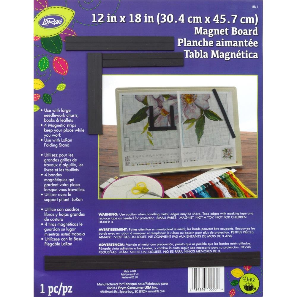 LoRan Magnet Board 12 x 18 with 4 magnetic strips