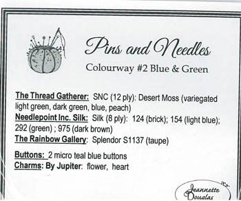 Jeannette Douglas Designs Pins & Needles thread pack Colourway #2 blue & green