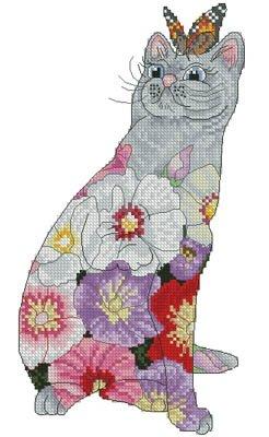Lena Lawson Needlearts Hollyhock Cat