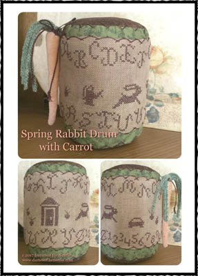 Dames of the Needle Spring Rabbit Drum with Carrot