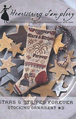 Heartstring Samplery Stocking Ornament #3 Stars and Stripes Forever