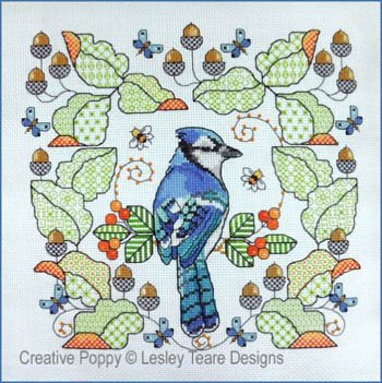 Lesley Teare Blackwork Blue Jay Amongst the Oak Leaves