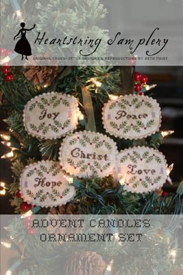 Heartstring Samplery Advent Candles Ornament Set