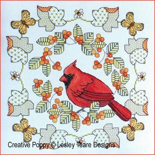 Lesley Teare Blackwork  Northern Cardinal in Autumn