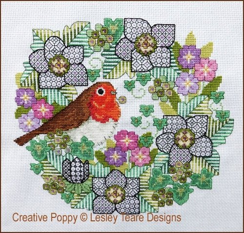 Lesley Teare Blackwork Flowers With Robin