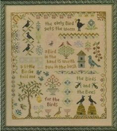 Elizabeth's Needlework Designs Antique Bird Sample