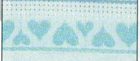 White/Aqua Hearts 4.75 Stitchband 16ct 38
