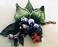 Karen Buell Designs Blueberries and Ladybug stumpwork kit