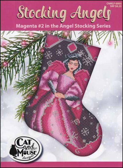 Cat and Mouse #2 Magenta Stocking Angel