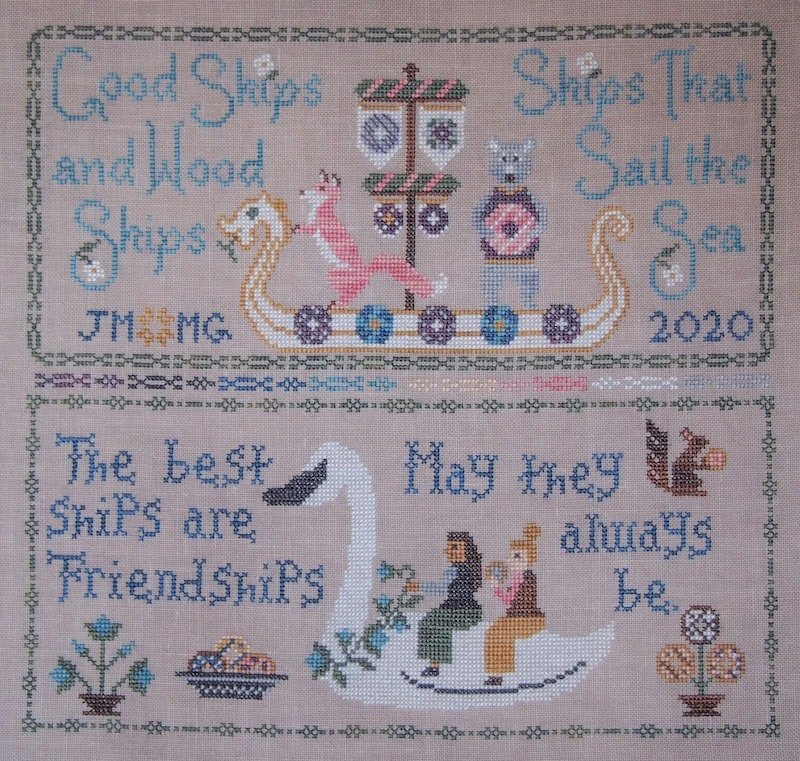 Bendy Stitchy + The Blue Flower Friendship Sampler