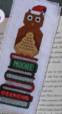 KeB Studio Creations Christmas Owl Sitting on Books bookmark